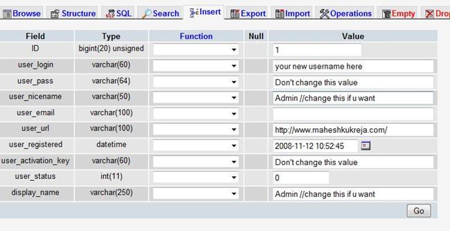 Chnage WordPress Username via phpMyAdmin 4