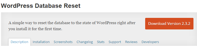 WordPress Database Reset