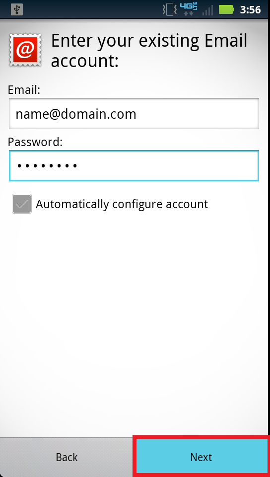 Configure an Eamil Account on Andriod Phone 1