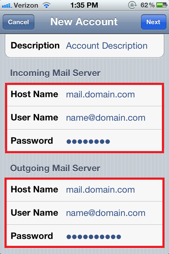 Configure an Eamil Account on iPhone 5