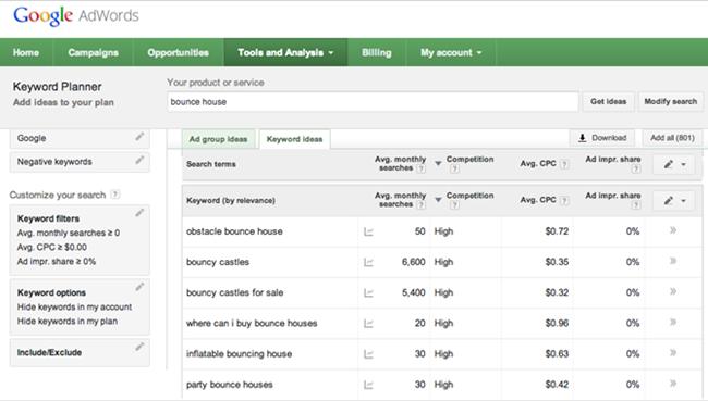 best keyword research tools - Google keyword Planner