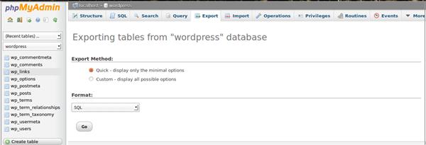 Export MySQL Database Using phpMyAdmin 1