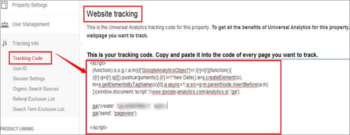 Add tracking code