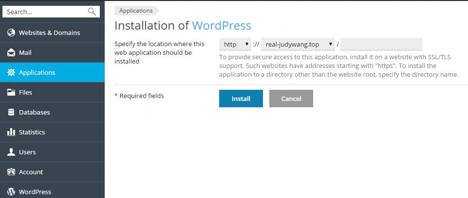 install wordpress on subdomain plesk